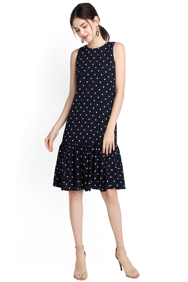 Sprinkles Party Dress In Blue Polka Dots