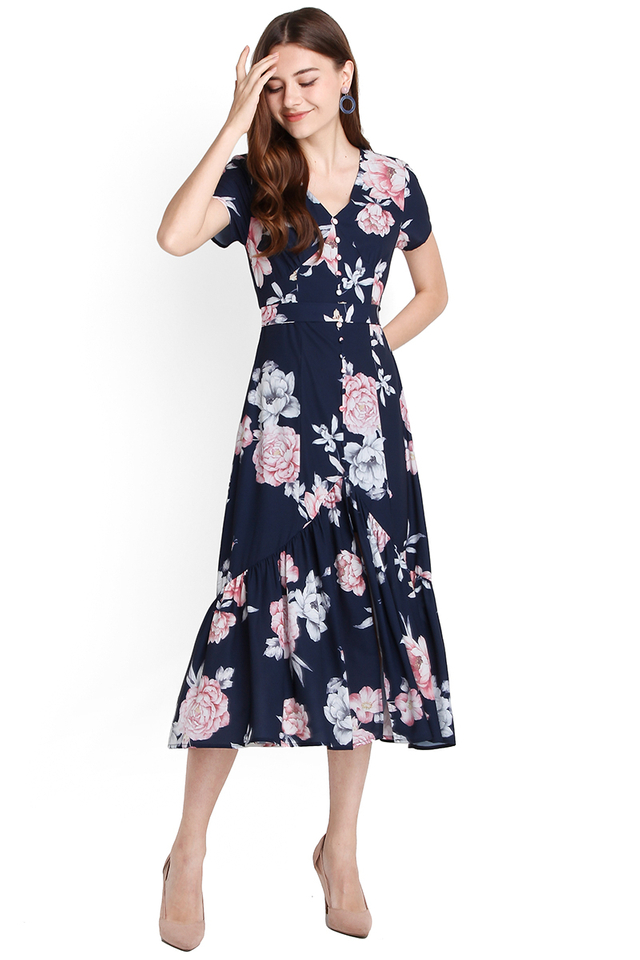 Covent Garden Dress In Blue Florals