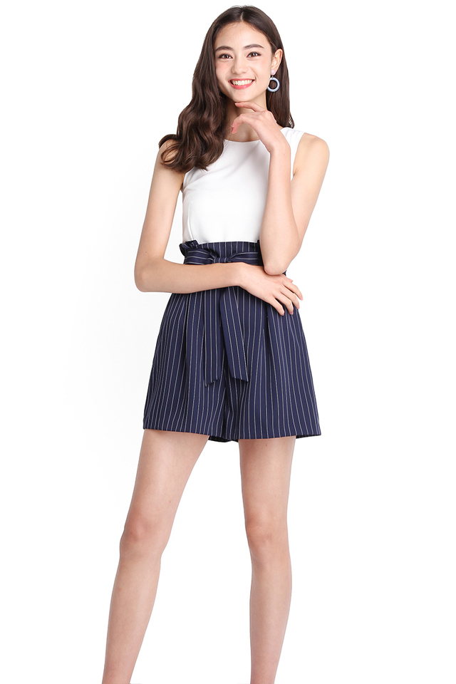 Seasons To Come Romper In Blue Stripes