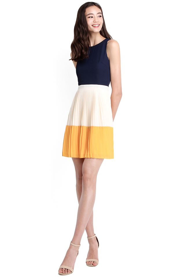 Sunshine After The Rain Dress In Navy Blue