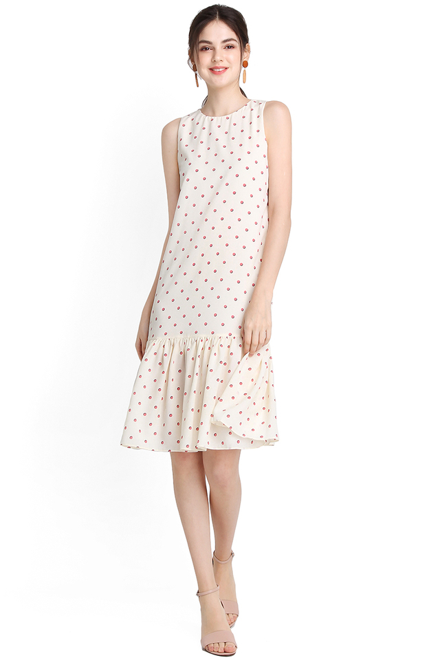 Sprinkles Party Dress In Cream Polka Dots