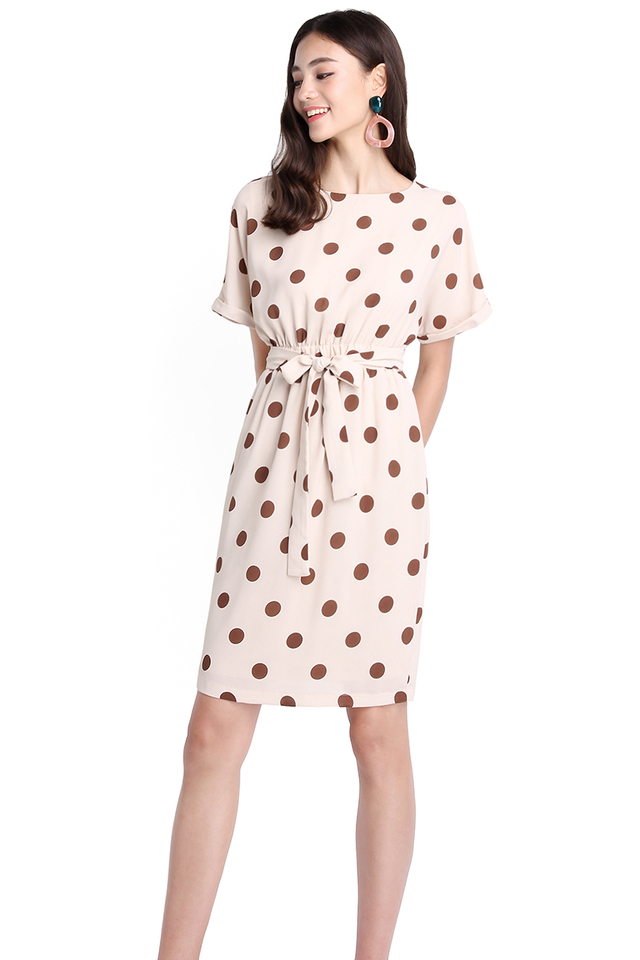 Summer Dreamer Dress In Cream Polka Dots
