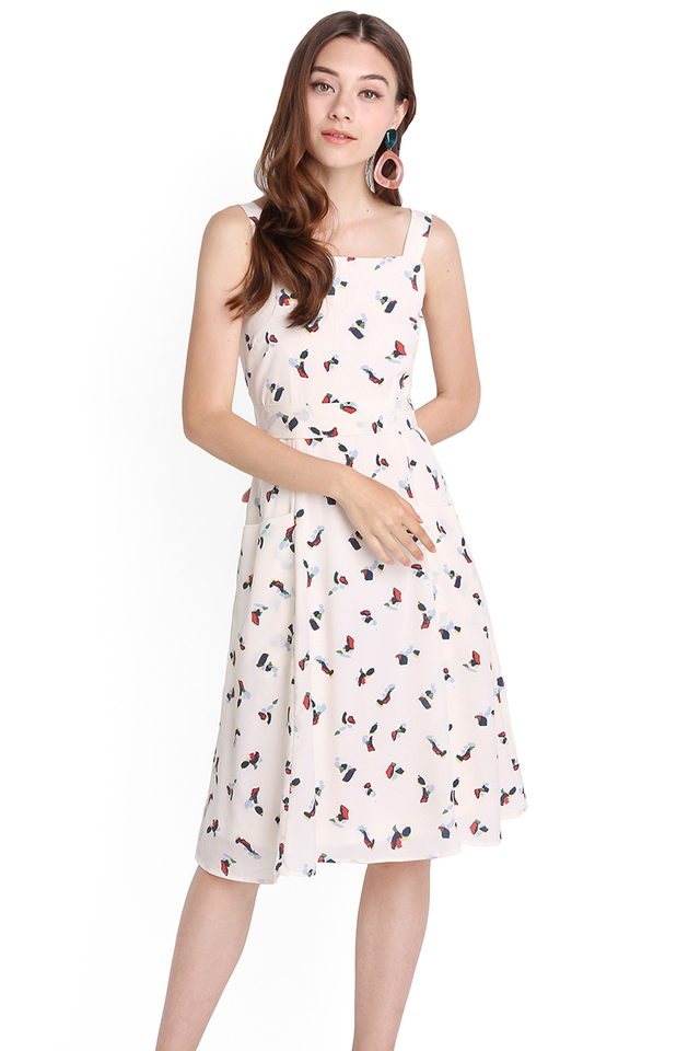 Cheerful Vibes Dress In Cream Prints