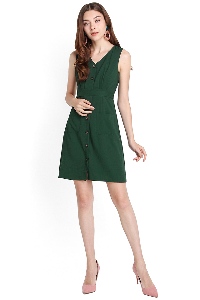 Forest Fauna Dress In Forest Green
