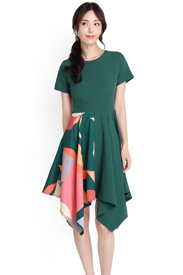 Sunset Serenade Dress In Forest Green