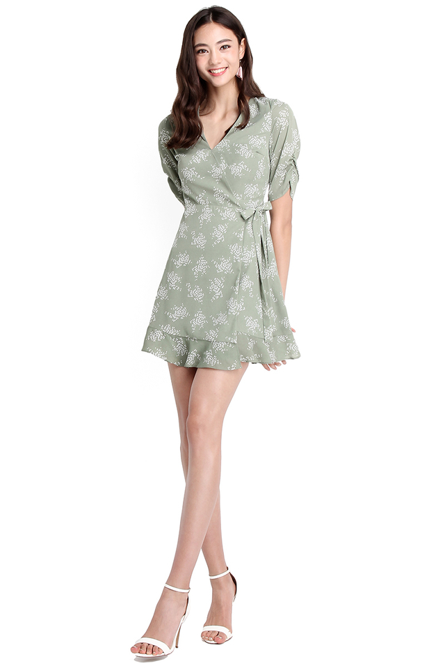 Whimsical Fantasy Dress In Jade Prints