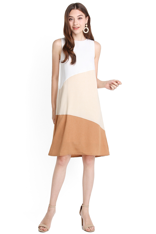 Sunny Disposition Dress In Latte
