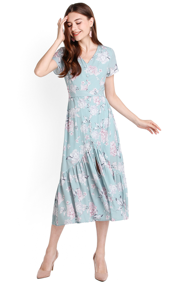 Covent Garden Dress In Jade Florals