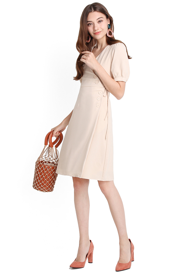 Side Enjoyment Dress In Warm Cream