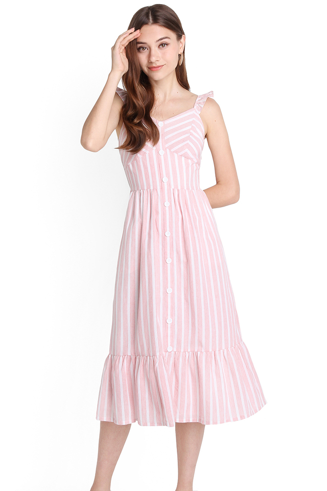 Weekend Favourite Dress In Pink Stripes