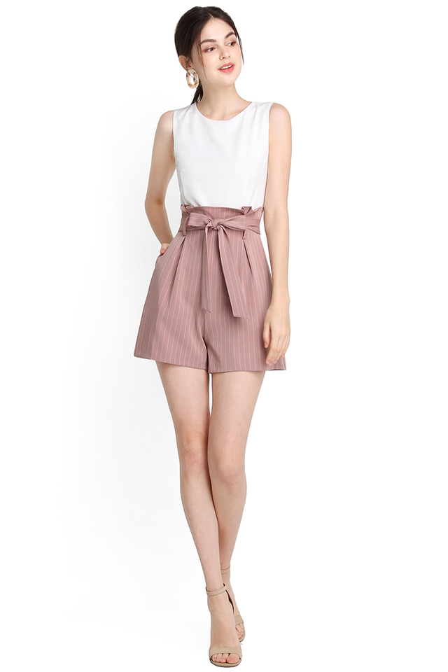 Seasons To Come Romper In Pink Stripes