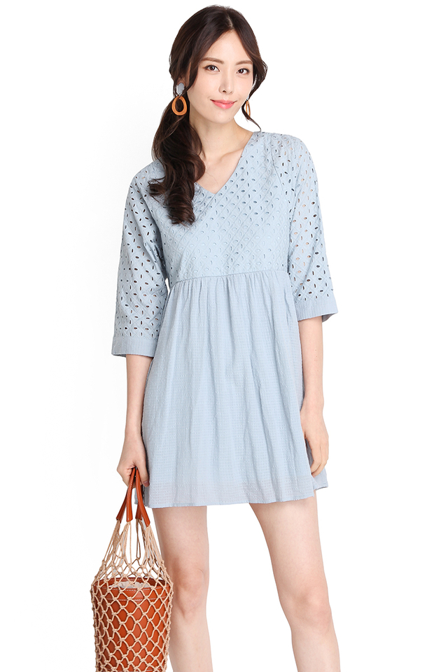 Dainty Charms Dress In Sky Blue