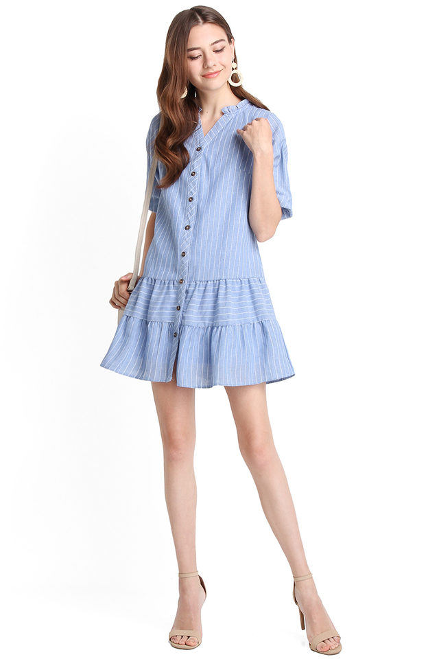 Spring Vacation Dress In Blue Stripes