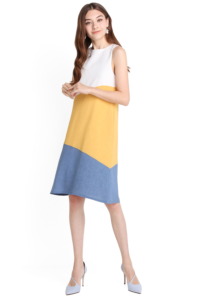 Sunny Disposition Dress In Sunshine Blue