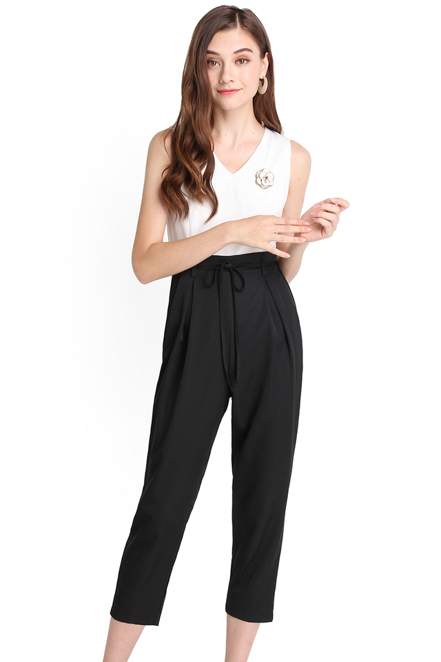 Polished Influence Romper In White Black