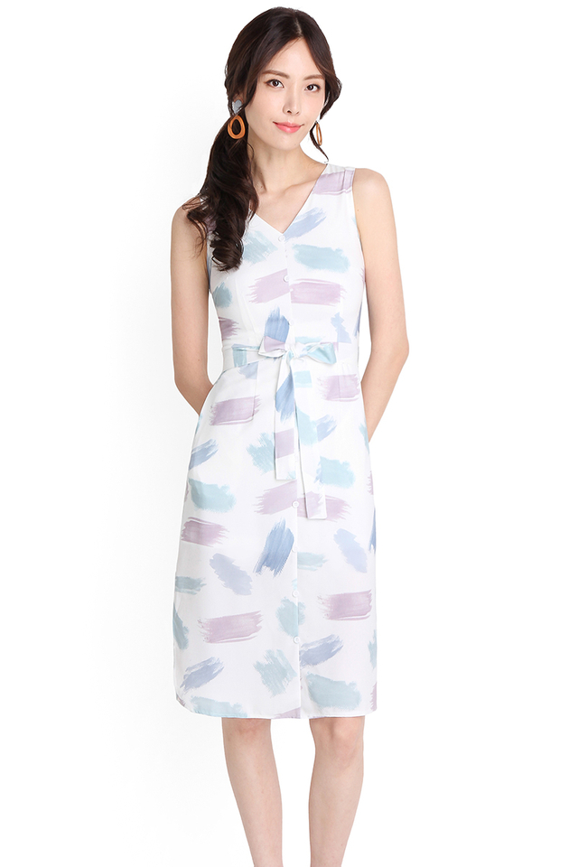 Pastel Tunes Dress In Brushstroke Prints