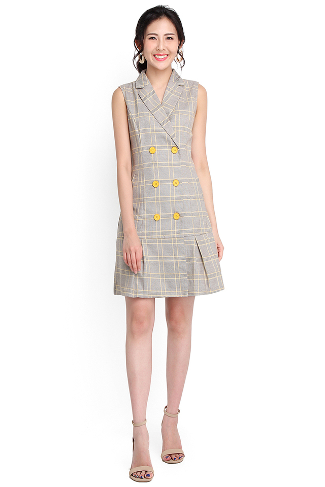 City Of Chicago Dress In Yellow Checks