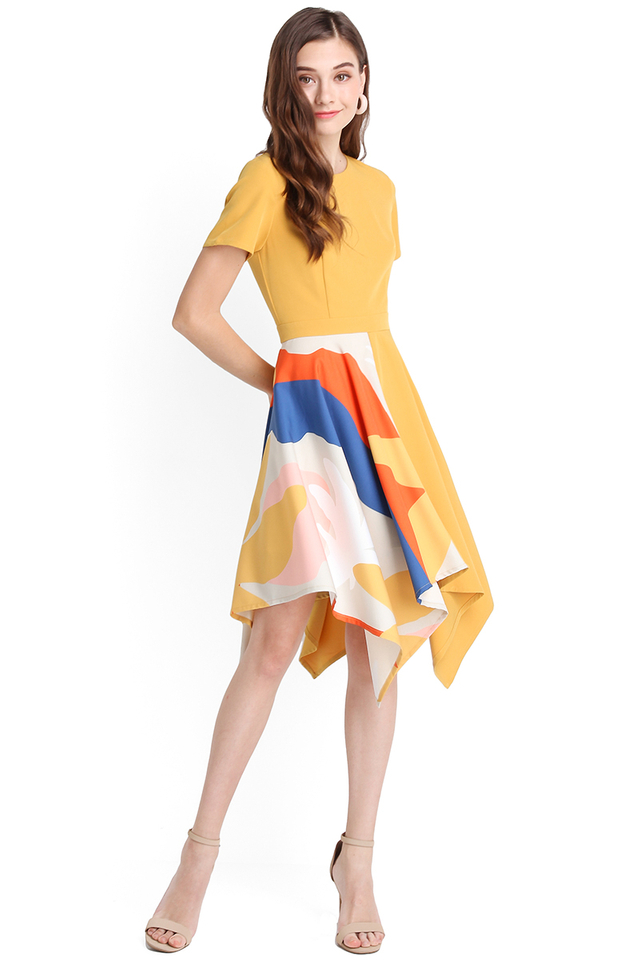 Sunset Serenade Dress In Mustard Yellow
