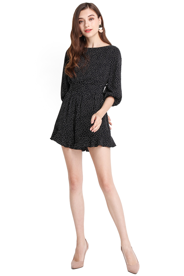 Brighton Weekend Romper In Black Dots