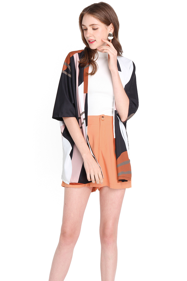 Weekend Doodles Kimono In Black Abstract Prints
