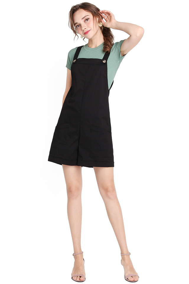 My Huckleberry Friend Romper In Classic Black