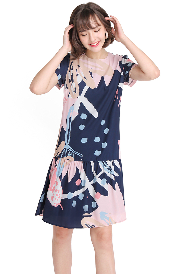 Summer Sketches Dress In Blue Prints
