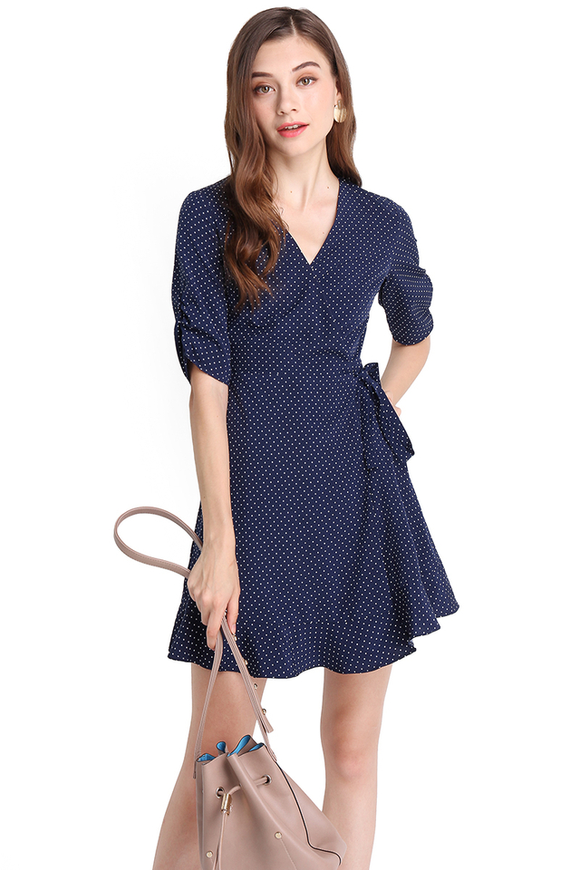 Whimsical Fantasy Dress In Blue Polka Dots