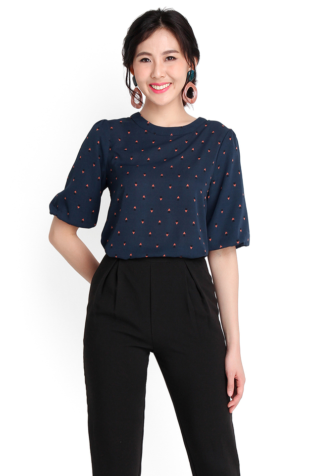 Geometric Puzzle Top In Blue Prints
