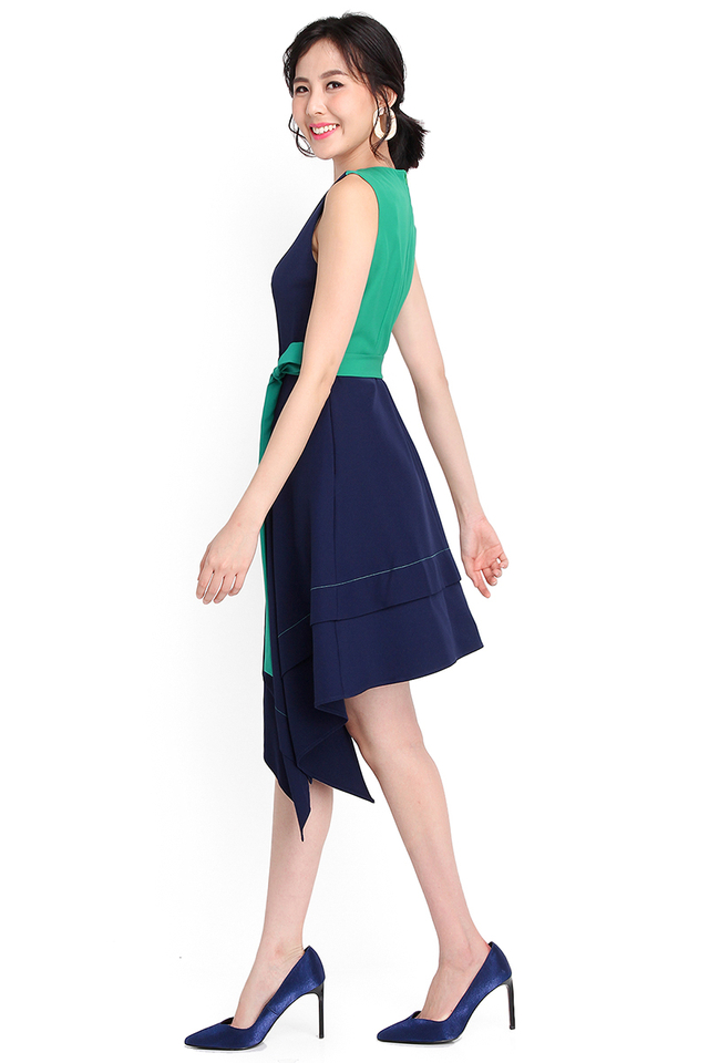 Head Of Your Class Dress In Navy Blue