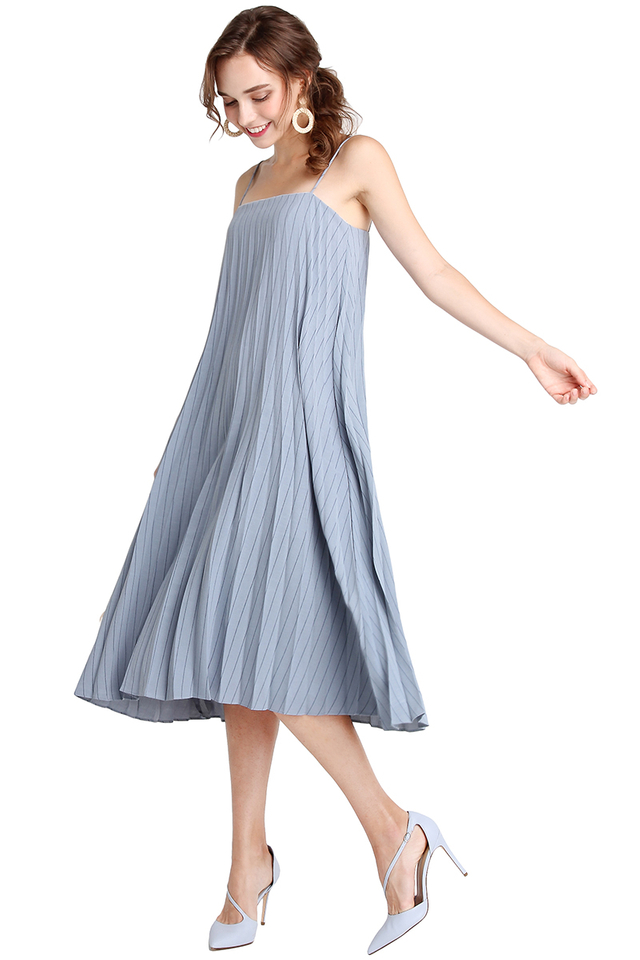 Over The Moon Dress In Blue Stripes