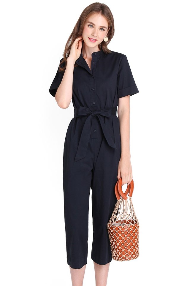 Safari Trip Romper In Navy Blue