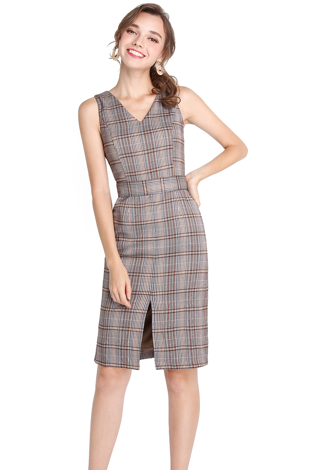 Amour In Paris Dress In Fall Checks