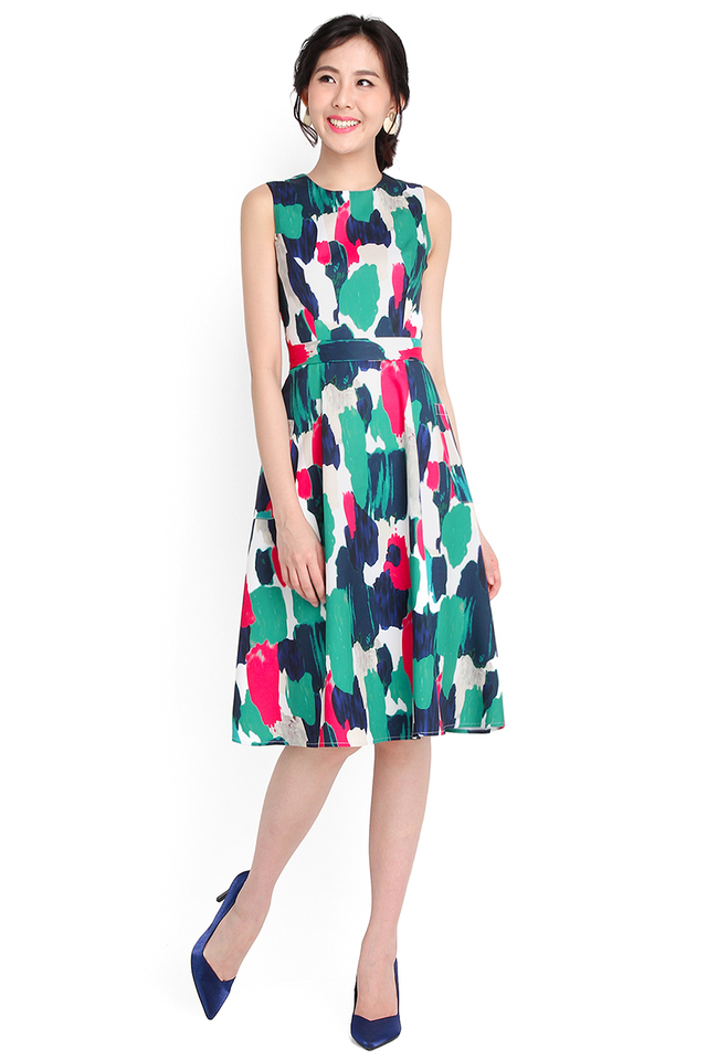 Claude Monet Dress In Abstract Prints