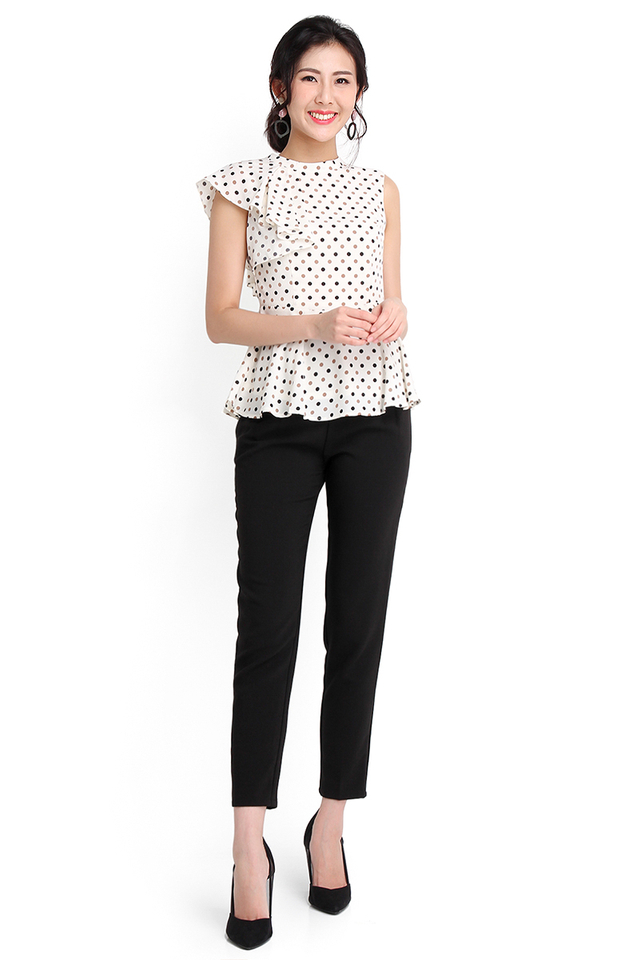 Friday Mood Top In Cream Polka Dots