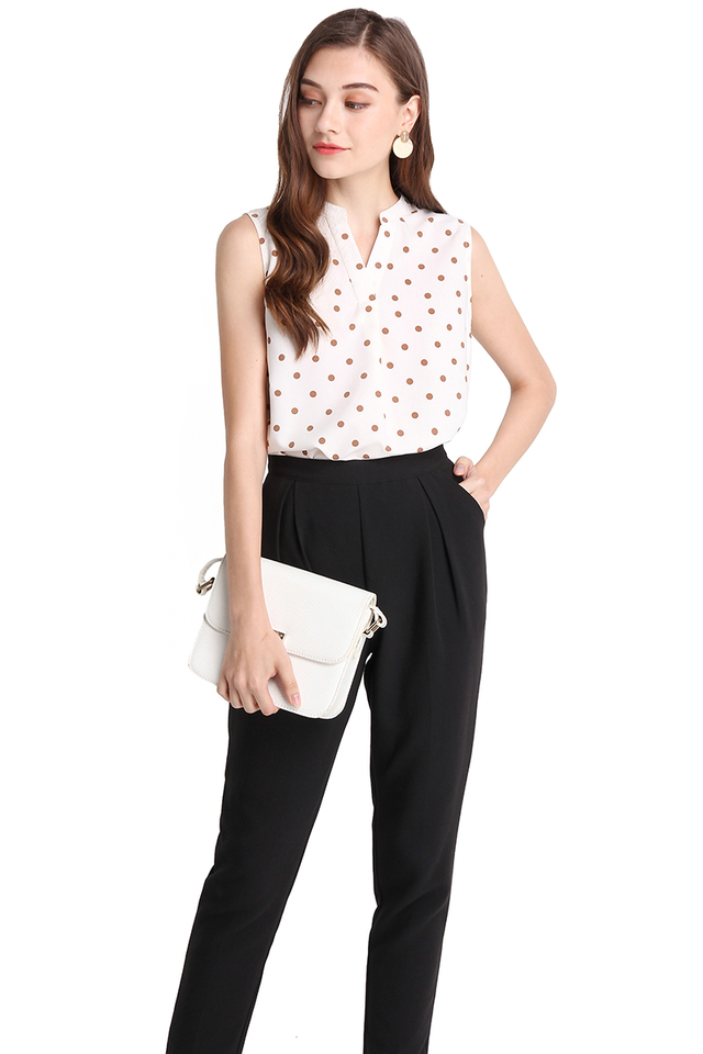In Tune With Nature Top In Cream Polka Dots