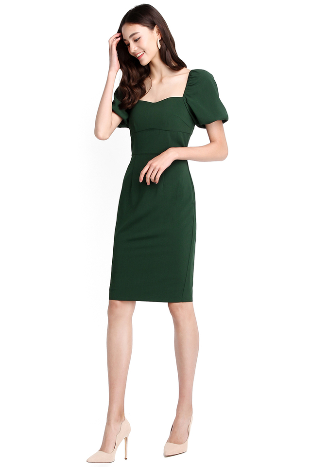 Get Down To Business Dress In Forest Green