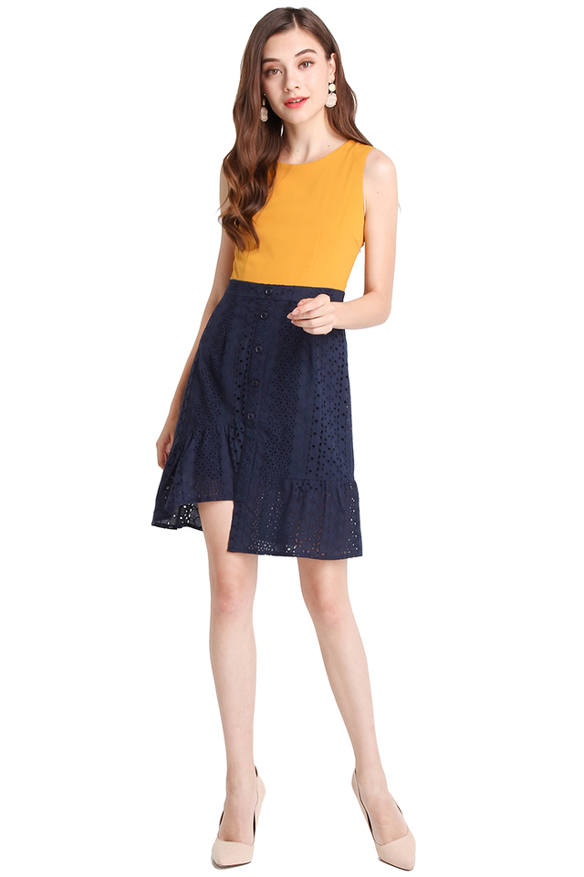 Desk To Date Dress In Mustard Blue