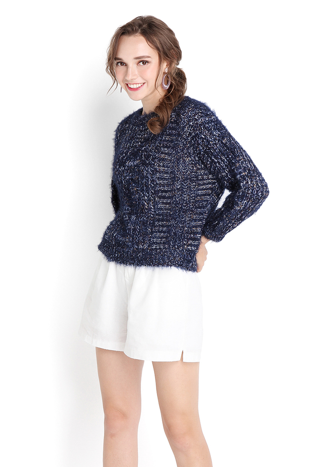 Movie Date Pullover In Navy Blue
