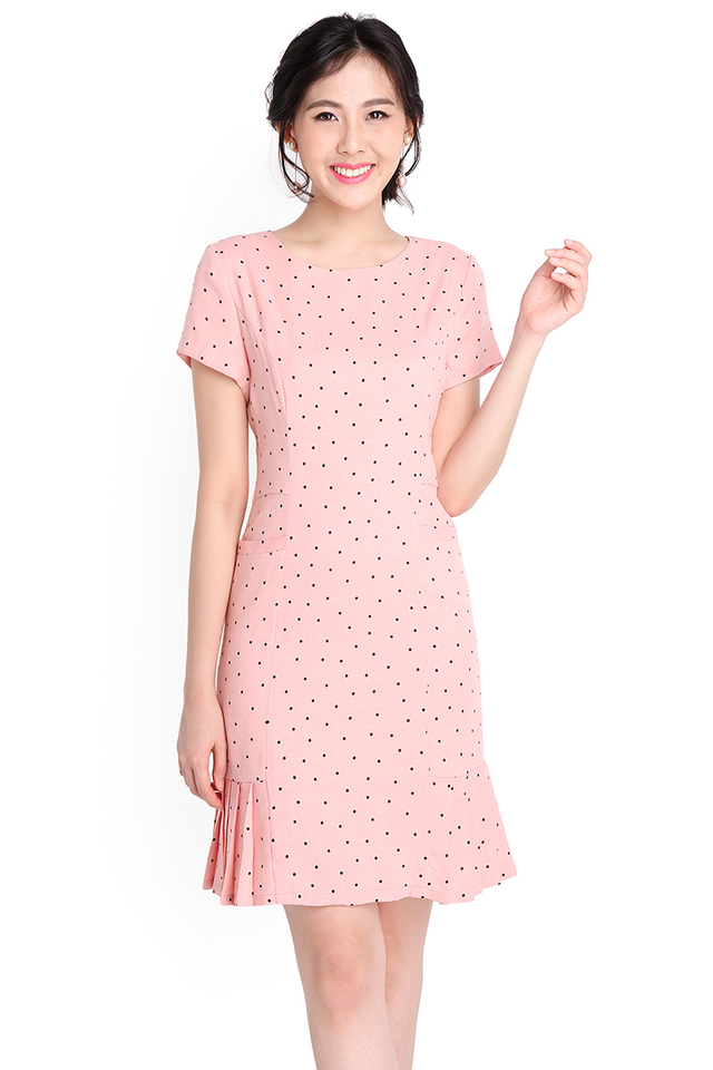 Sweet Confectionery Dress In Pink Polka Dots