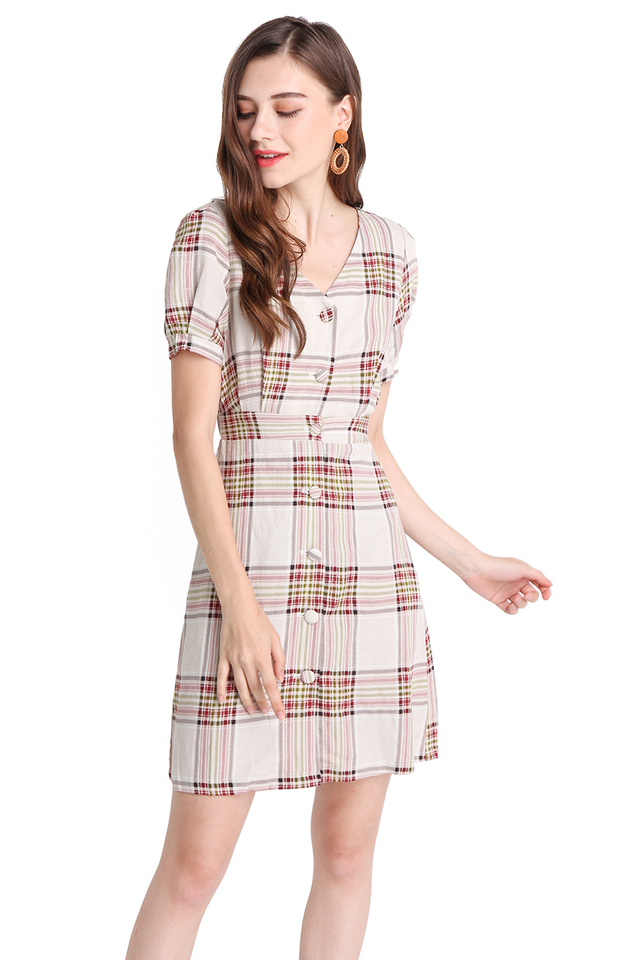 Castle On The Hill Dress In Sand Plaid