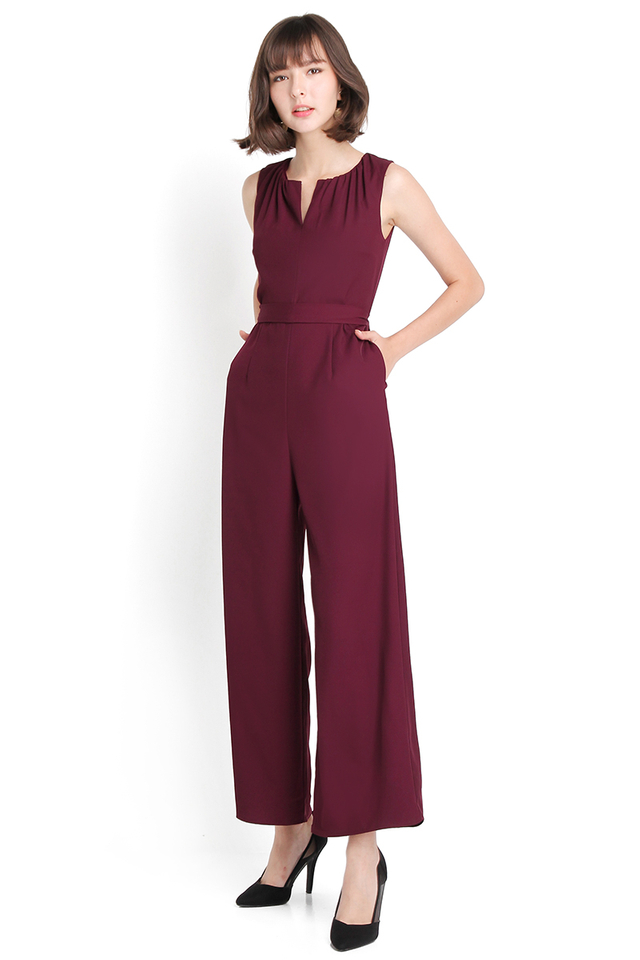 Classiness On Point Romper In Burgundy