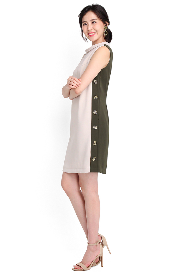 Timeless Tailoring Dress In Sand Olive