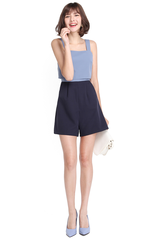 Mod Parade Romper In Sky Navy