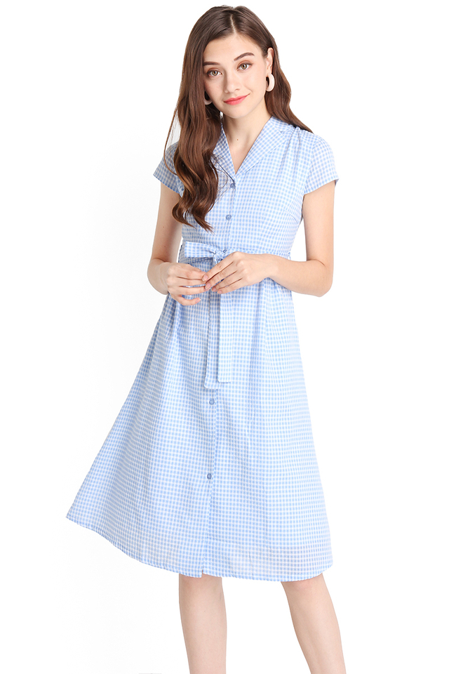Perfect Fairytale Dress In Sky Checks