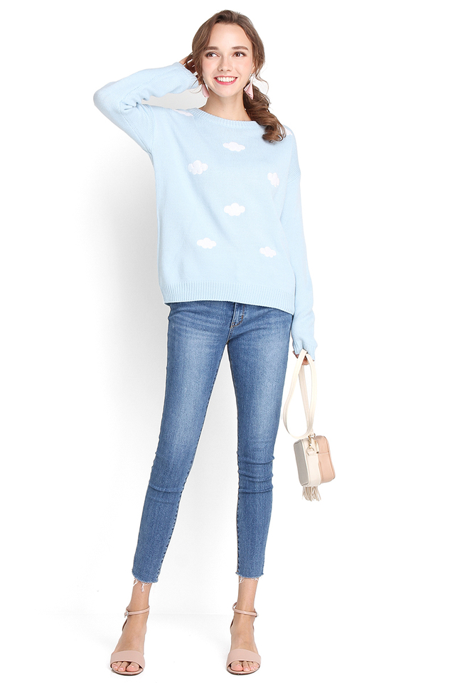 On Cloud Nine Pullover In Sky Blue