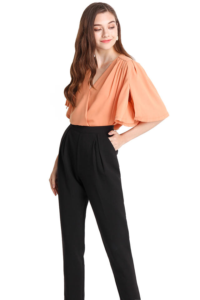 Flutter And Glow Top In Apricot
