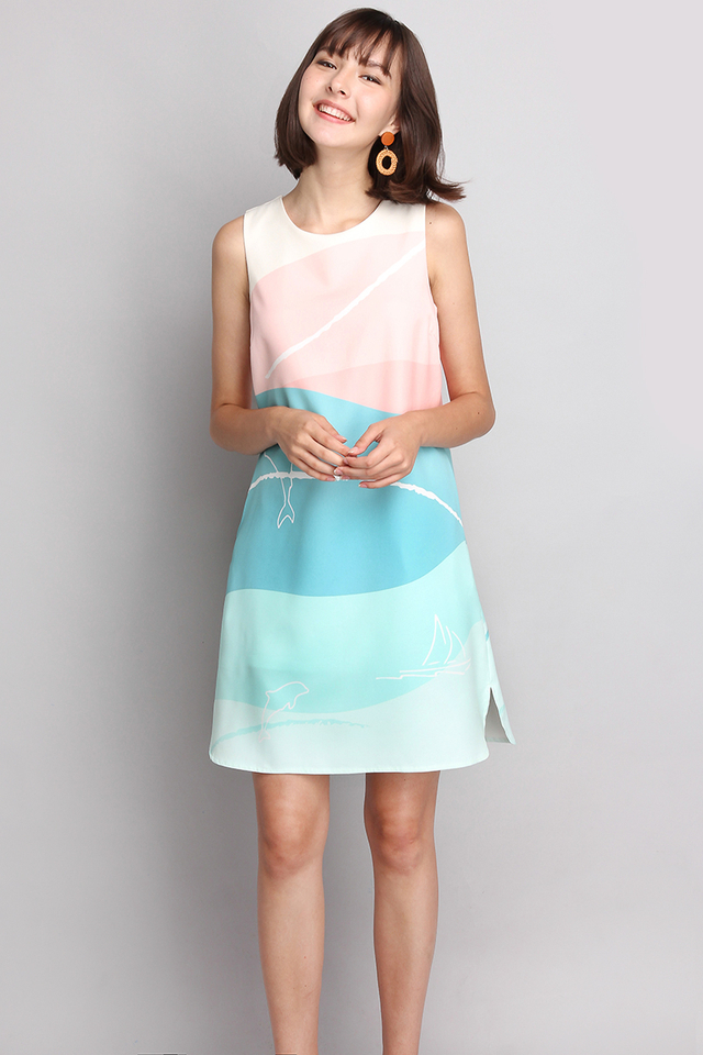 [BO] Trip To Aquarium Dress In Pink Blue