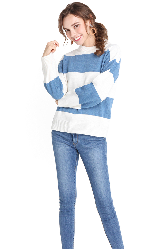 Cosy Weekend Top In Blue Stripes