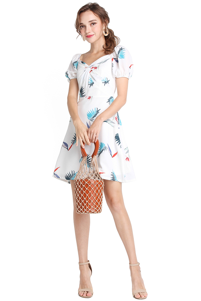 Whitsunday Island Dress In White Prints