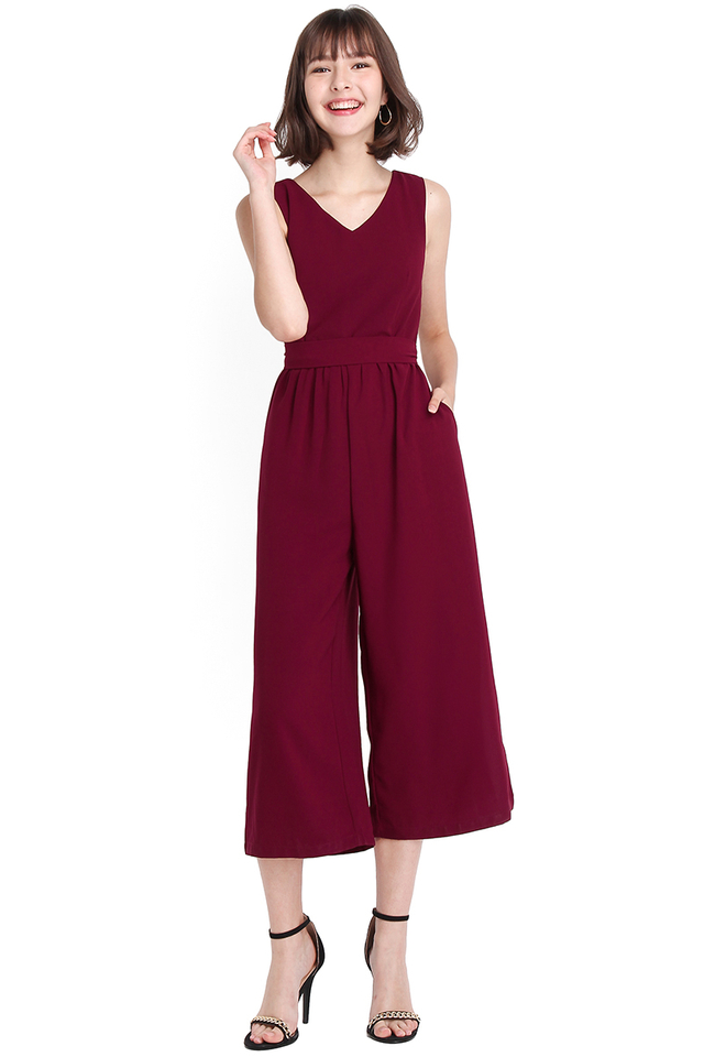 Barcelona Romper In Wine Red